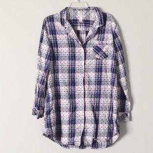 Victoria's Secret Button Up Sleep Shirt L